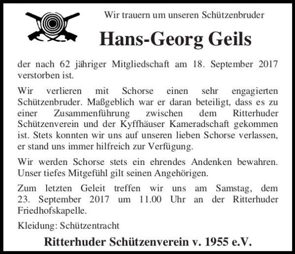 Hans-Georg Geils, †18.09.2017